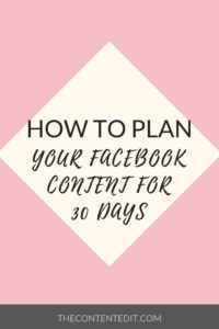 HOW TO PLAN YOUR FACEBOOK CONTENT